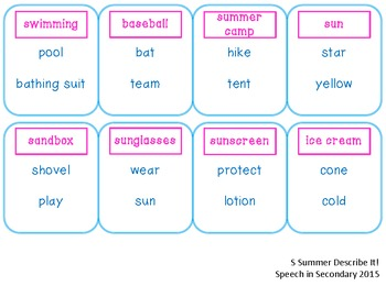 Summer Describe It! for Articulation