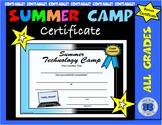 Summer Tech Camp Certificate - Editable