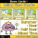 Summer Telling Time Boom Card Bundle - Time to Hour, Half