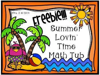 Summer Telling Time Math Tub Freebie