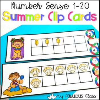 Summer Ten Frame Clip Cards 1-20
