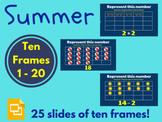 Summer Ten Frames 1 - 20 (Activities, Math, Distance Learning)
