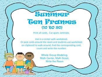 Summer Ten Frames (10 to 20) Write the Room