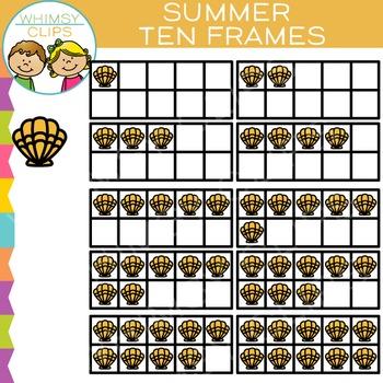 Summer Ten Frames Clip Art
