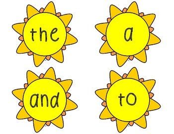 Sight Words: Summer Thematic Sight Word Cards {Sunshine}