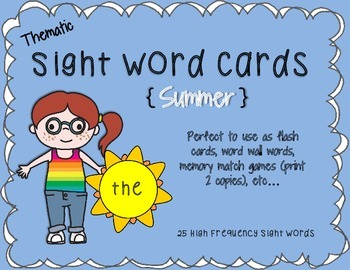 Summer Thematic Sight Word Cards {Sunshine}