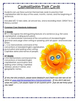 Summer Theme Capitalization Task Cards