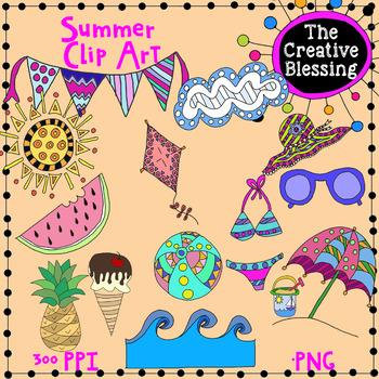 Summer Theme  Hand Drawn Clip Art  Graphics