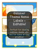 Summer Theme Name Labels - Editable!