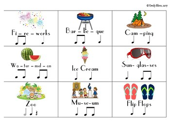 Summer Theme Student Created Rhythm Composition Cards (Growing Set)