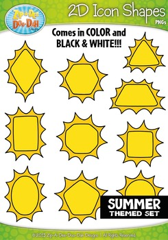 Summer Themed 2D Icon Shapes Clipart Set — Includes 20 Graphics!