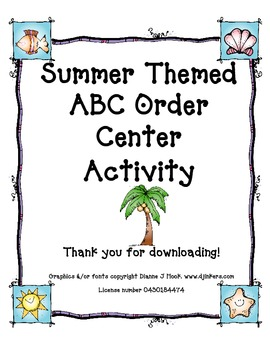 Summer Themed ABC Order