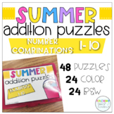 End of the Year Addition Puzzles (Summer Themed)
