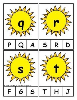 Summer Themed Alphabet Clip Cards
