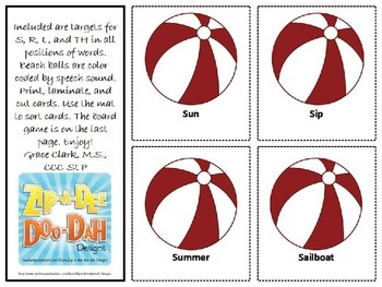 Summer-Themed Articulation Game for S, R, L, and TH Sounds