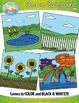 Summer Themed Background Scenes Clip Art Set — Includes 30