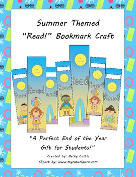 Summer Themed Bookmarks FREEBIE! 2 sets - 1 with name slots and 1 without