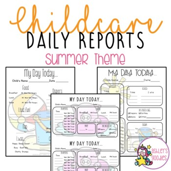 Summer Themed Childcare Daily Reports  (Daycare)