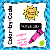 Summer-Themed Color-by-Code: Multiplication