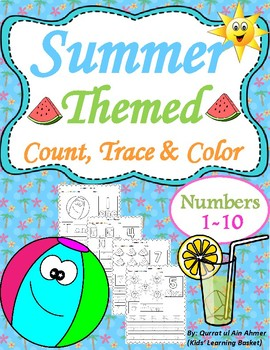summer themed count trace color numbers 1 10 by kids learning basket