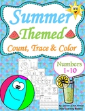 Summer Themed Count, Trace & Color Numbers 1-10
