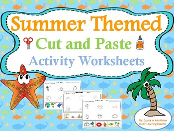 Summer Themed Cut and Paste Activity Worksheets
