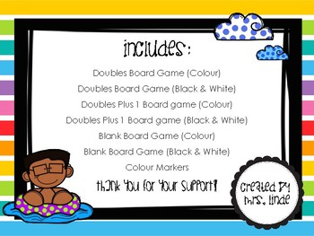Summer Themed Doubles and Doubles Plus 1 Board Games