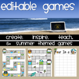 Summer Themed Editable Game Boards