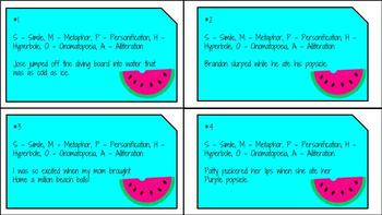 Summer Themed Figurative Language Task Cards - TEST PREP