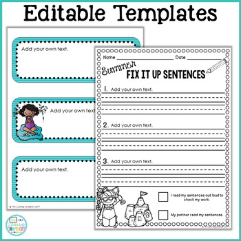 Summer Editing Sentences: First Grade, Capitalization, Punctuation, Spelling