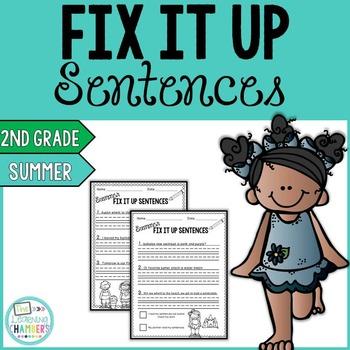 Summer Editing Sentences: Second Grade, Capitalization, Punctuation, Spelling