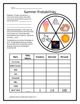 Summer-Themed Fraction, Decimal & Percent Probabilities Using a Spinner!