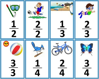 Summer Themed Fractions Card Game