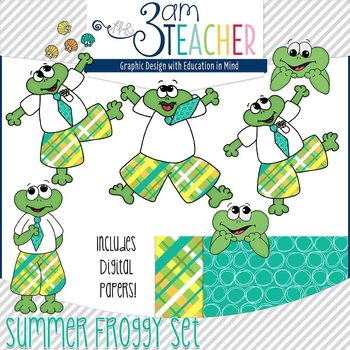 Summer Themed Froggy Clipart Set