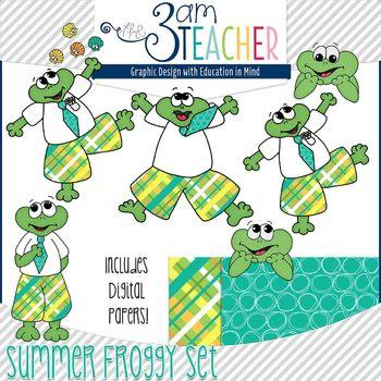 Summer Themed Froggy Clipart Set