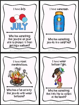 Summer Themed:  I have, Who Has?  {24 Cards +Answer Key}