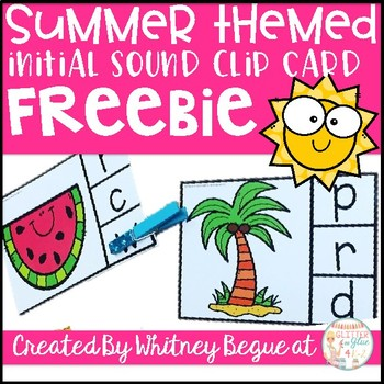 Summer Themed Initial Sound Clip Card Freebie