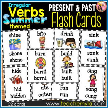 Summer Themed Irregular Verb Flash Cards
