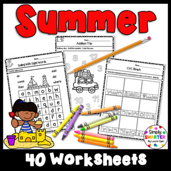 Summer Themed Kindergarten Math and Literacy Worksheets and Activities