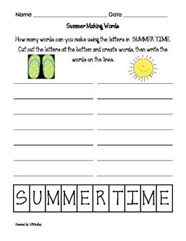 Summer Themed Langague Arts Packet