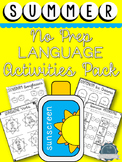 Summer Themed Language Activities- for Speech therapy, ELA
