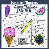 Summer Themed Lined Writing Paper