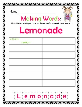 Summer Themed Making Words!