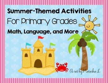 Summer Themed Math & ELA Activity Set for Lower Elementary