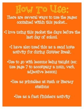 Summer Themed Math & Literacy Packet - Print & Practice