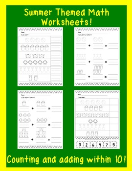 Summer Themed Math Worksheets