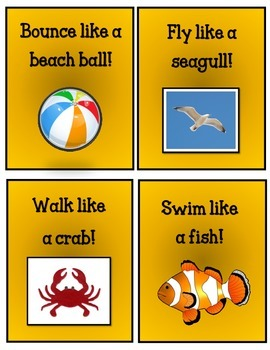 Summer Themed Movement Cards