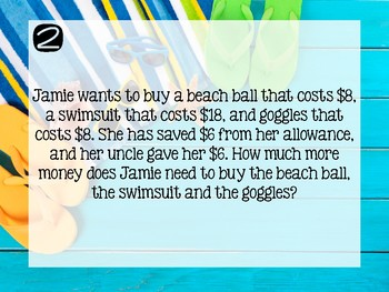 Summer Themed Multi-Step Word Problems [3rd Grade]