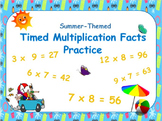 Summer-Themed, 'Beat-the-Clock' Multiplication Facts PowerPoint Practice