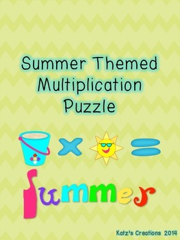 Summer Themed Multiplication Puzzle (2-digit by 2-digit)